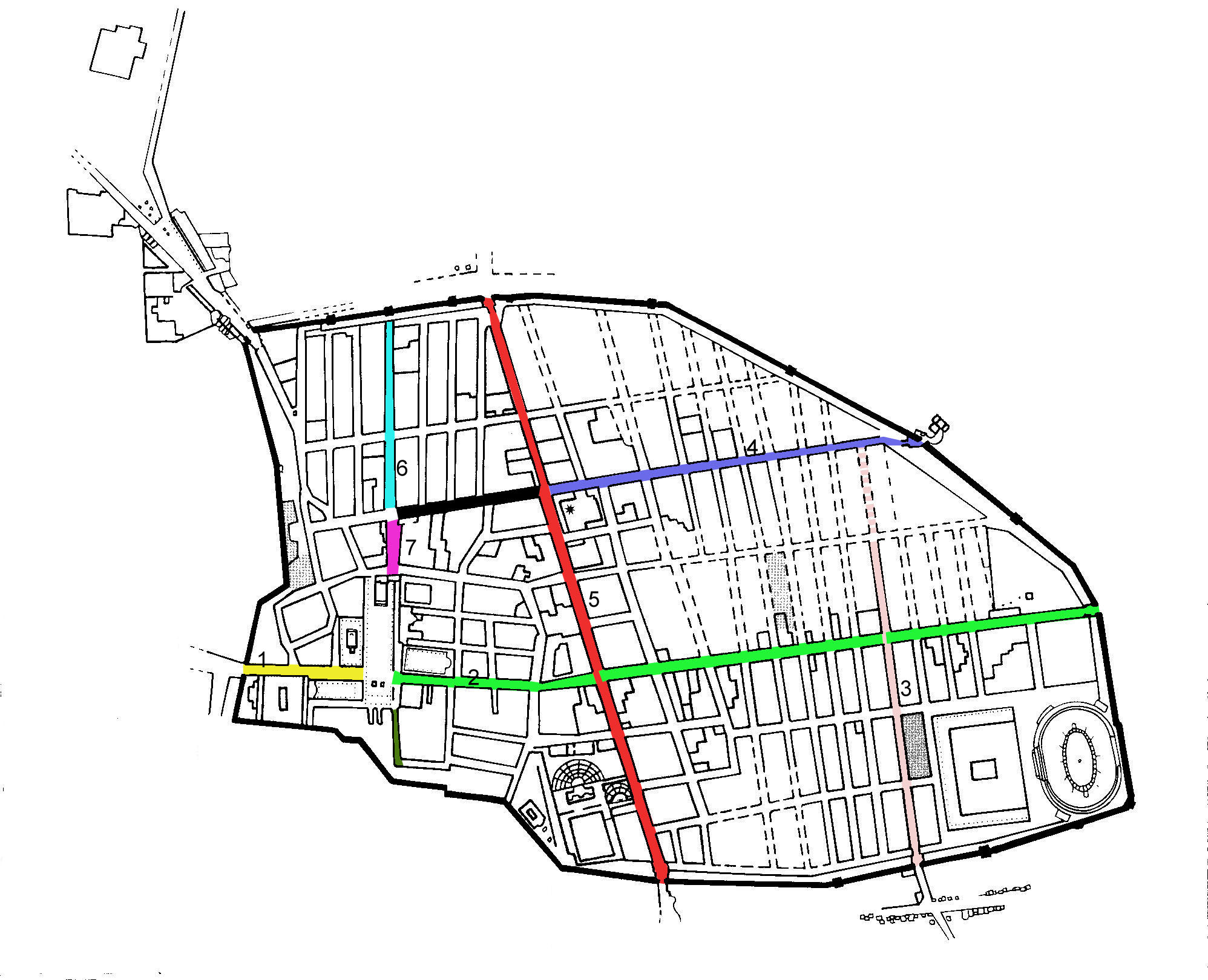 File Map Showing The Main Streets Of Pompeii