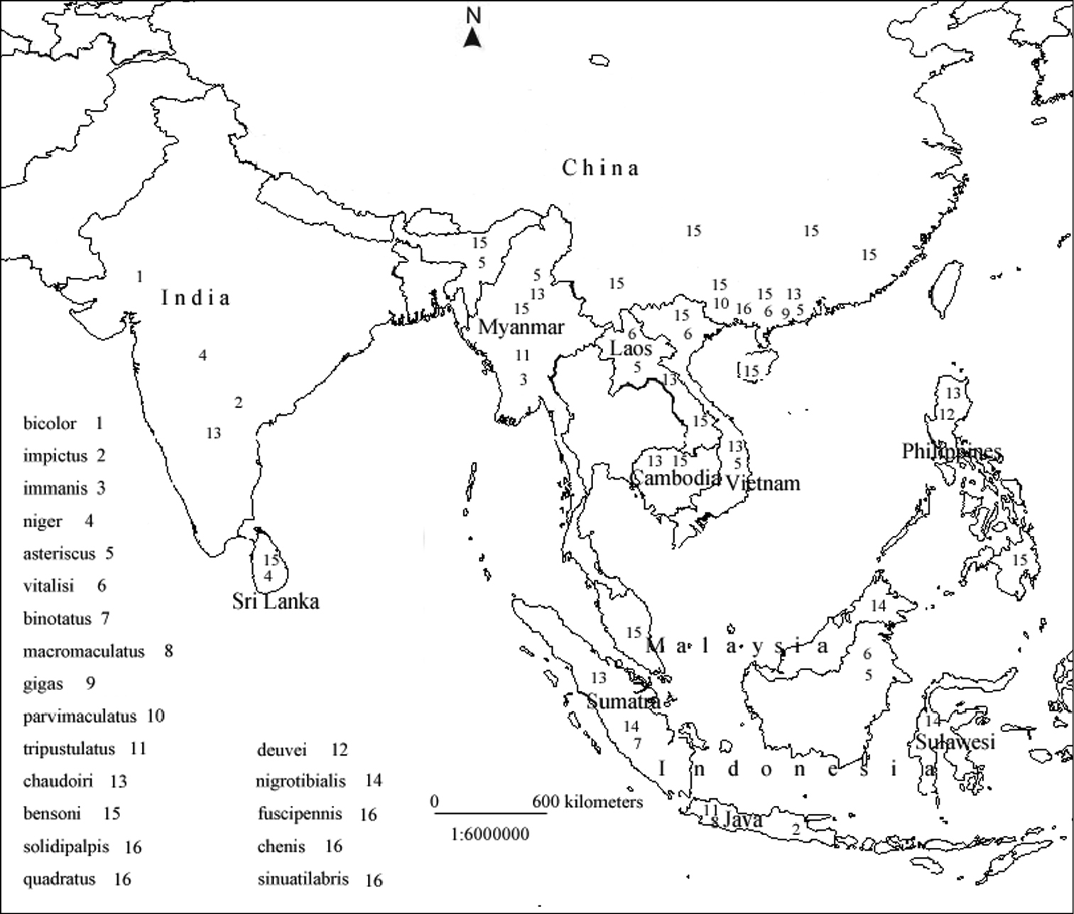 File Distribution Map Of Macrocheilus In Southeast Asia