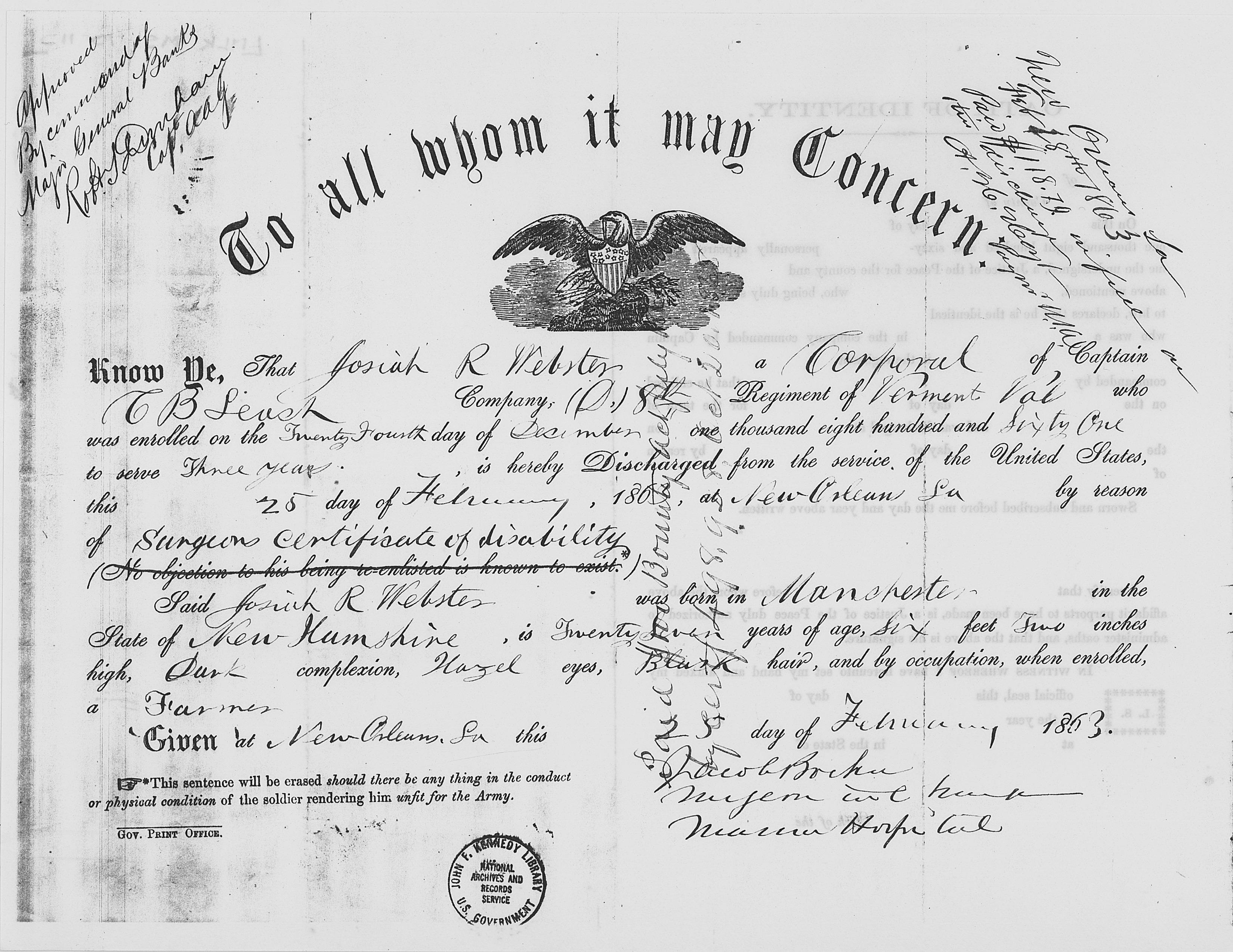 File Josiah Webster Civil War Discharge Certificate