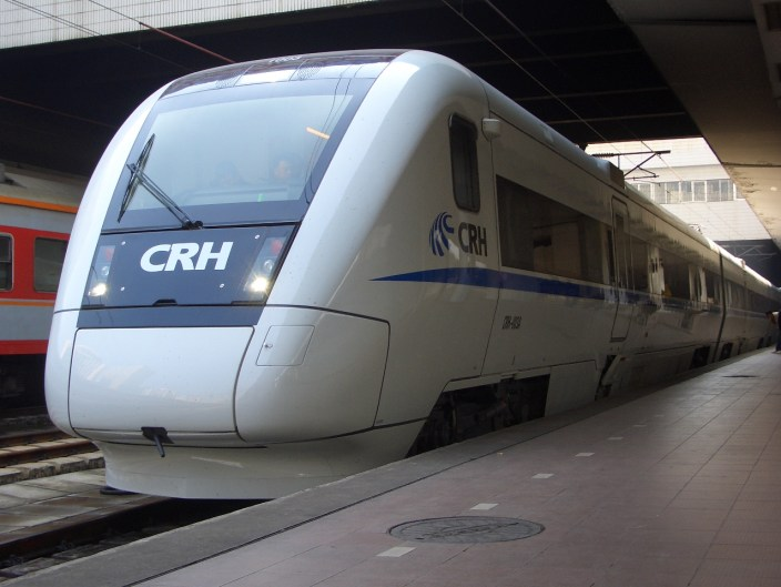 A high speed train in China.