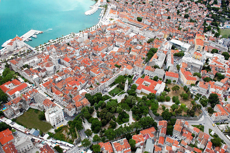 Diocletian's Palace, now the center of the modern city of Split, seen from the air