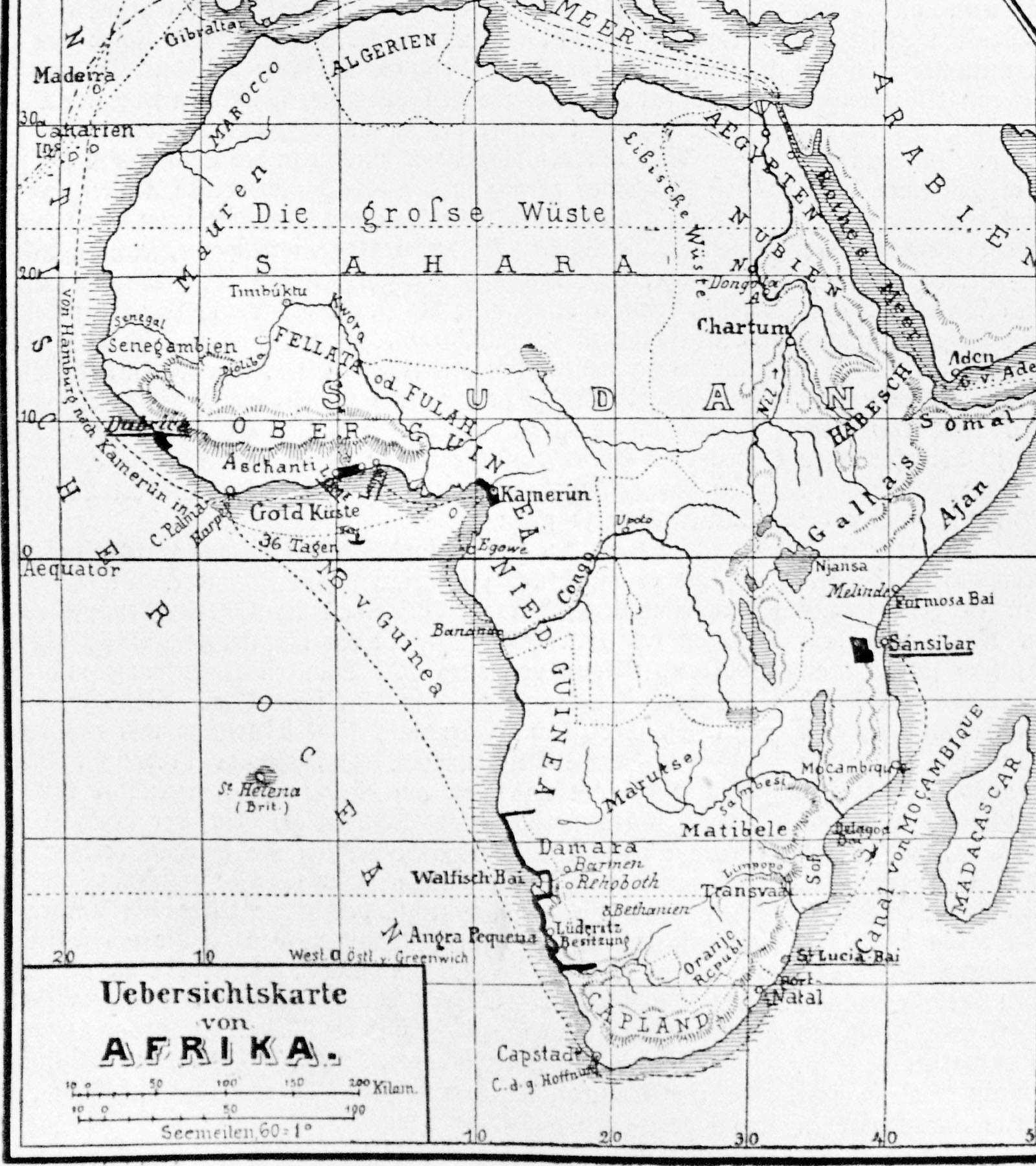Frühe Karte der deutschen Überseegebiete von 1885: Kapitaï und Koba sind als Dubrica (Dubréka) verzeichnet