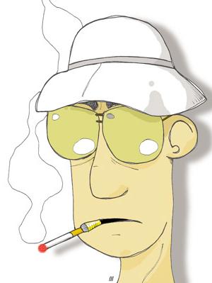 Cartoon of the journalist and writer Hunter S....