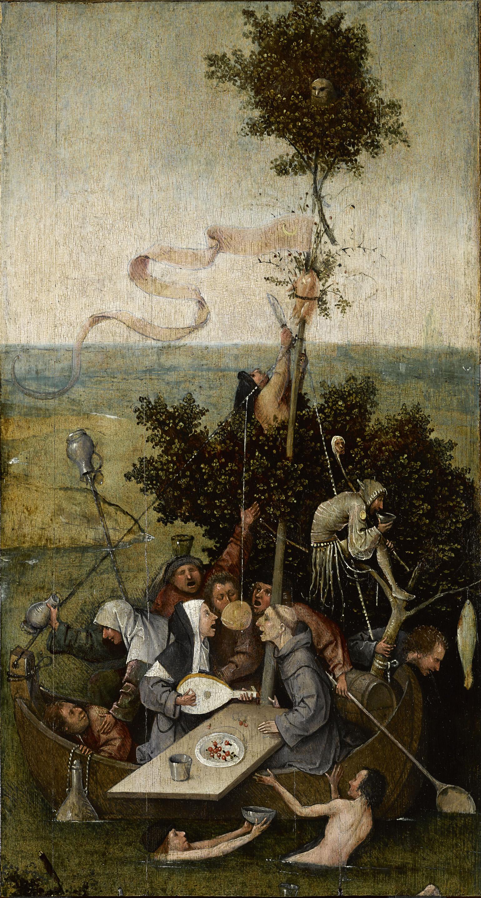 """Hieronymus Bosch, """"Stultifera navis"""" (c. 1490-1500); Yale University Library"""