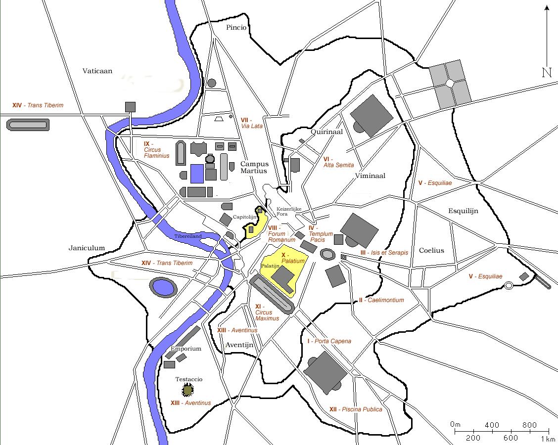 14 Regions Of Augustan Rome