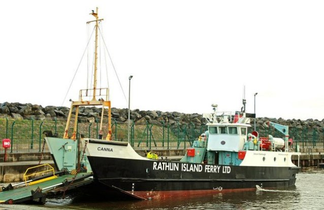 The Rathlin ferry, the Canna now has her new operator's name pained on her hull.