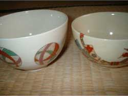 English: Two typical usuicha (thin tea) bowls ...