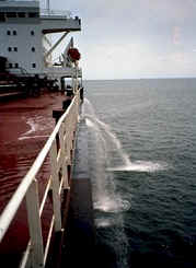 Ship pumping ballast water