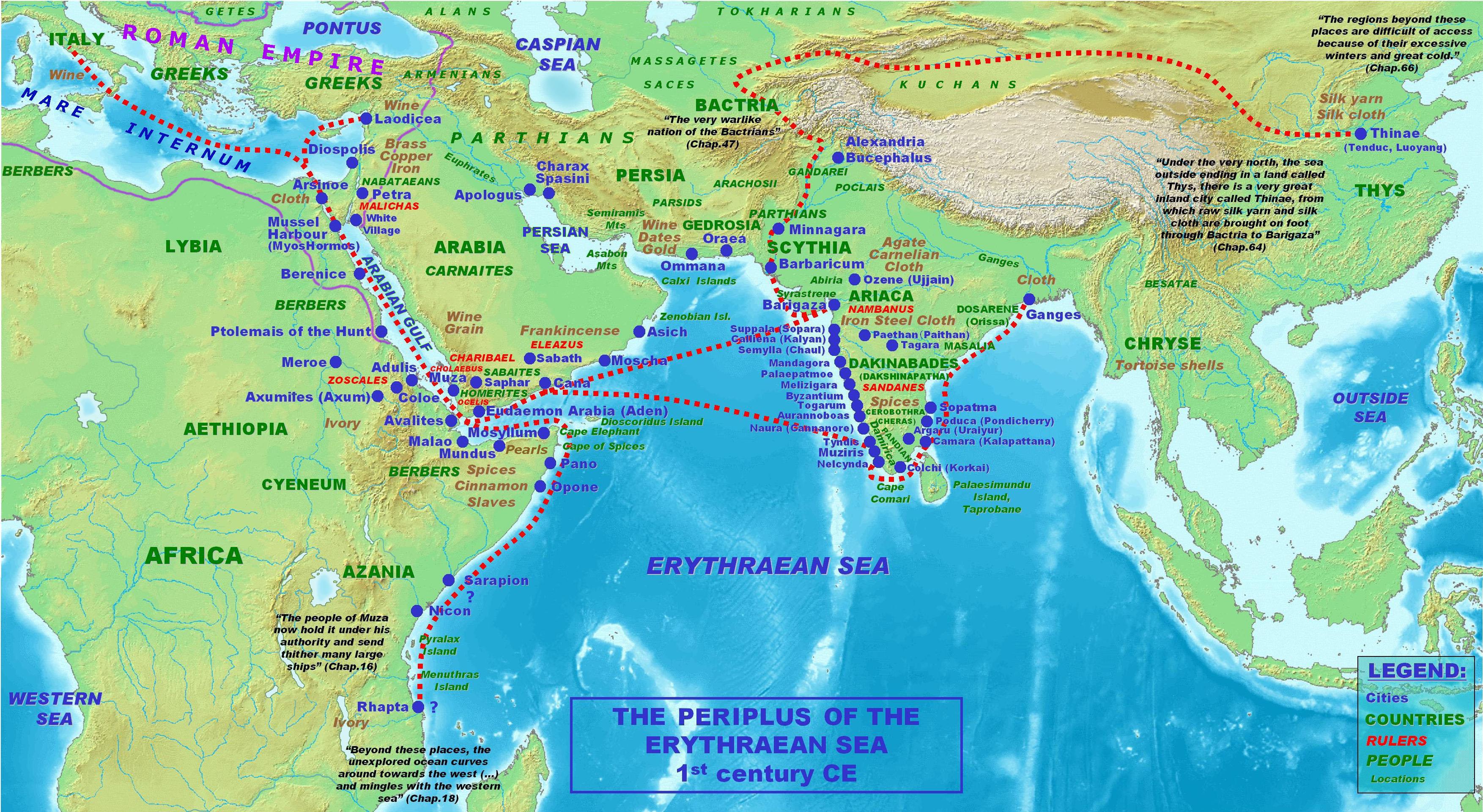 Rutas, ciudades y reinos mencionadas en el Periplo del Mar Eritreo