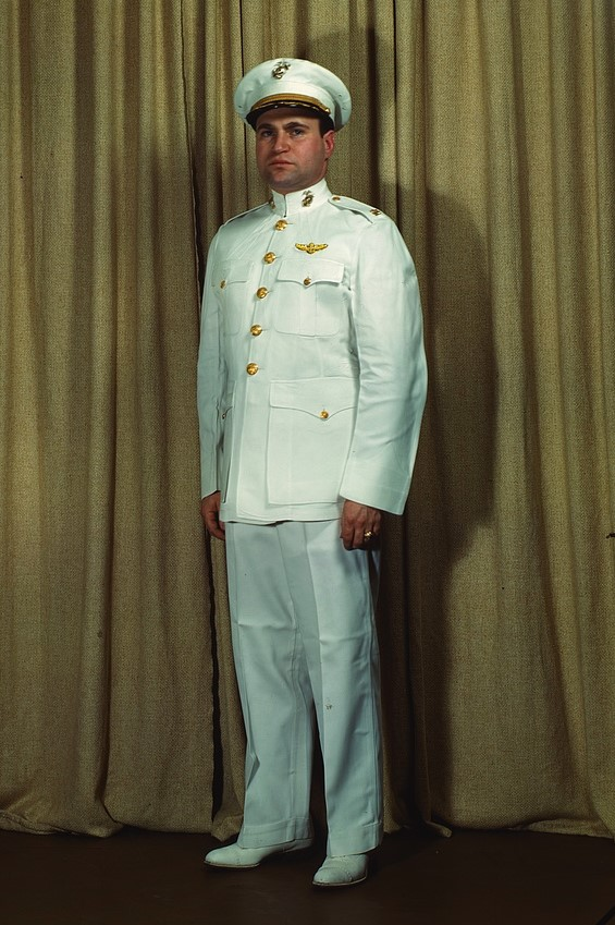 Marine Corps Major in dress white uniform, Wor...