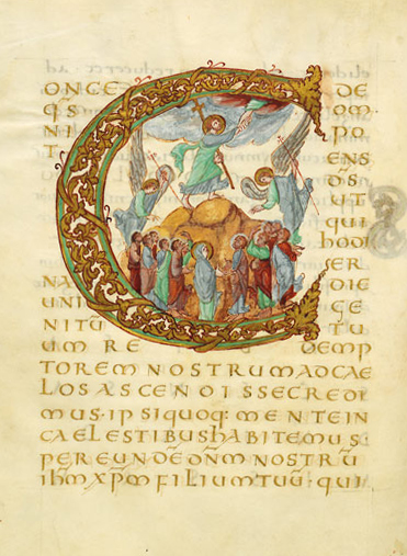 Ascension of Christ (Illuminated manuscript, Sacramentaire de Drogon, Initiale C ornée de l'Ascension du Christ, 845-855, unknown artist)