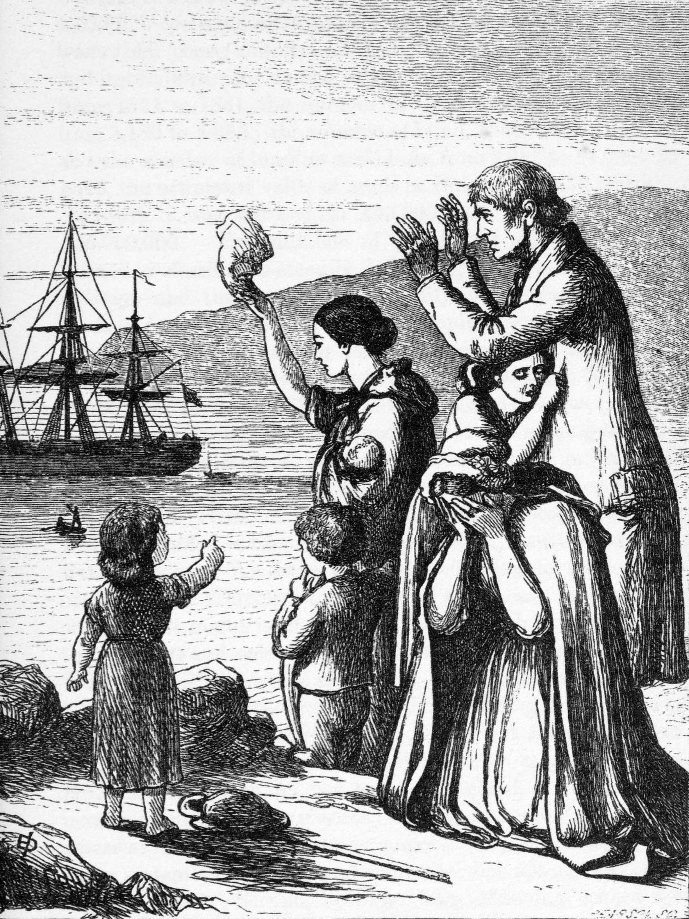 Engraving of Emigrants Leaving Ireland, 1868, Henry Doyle