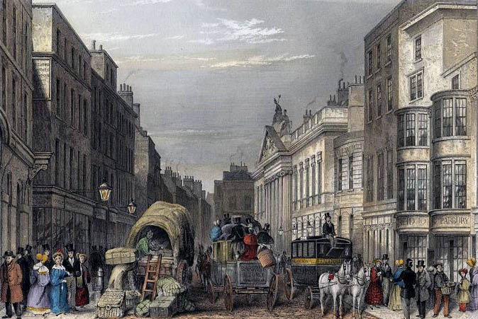 Leadenhall Street in the City of London. Engraving by J Hopkins after a drawing by Thomas Hosmer Shepherd. Published 1837.
