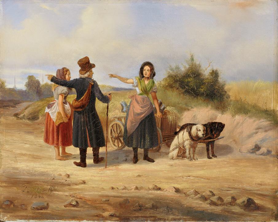 Cena de estrada em 1842 - andarilho pergunta o caminho
