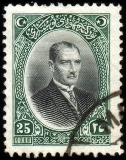 English: A Turkish Stamp featuring Mustafa Kem...