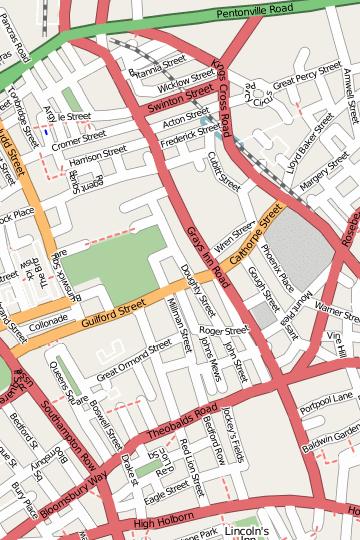 Map of Gray's Inn Road