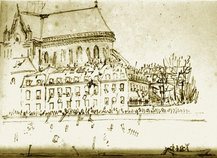 Sac de l'archevêché de Notre-Dame de Paris le 14 février 1831 - Dessin de Viollet-le-Duc