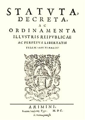The San Marino constitution of 1600