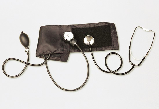 Aneroid sphygmomanometer with stethoscope, use...