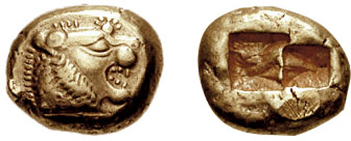 A 640 BC one-third stater electrum coin from Lydia