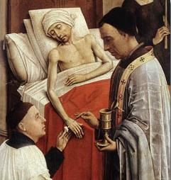 Detail of Roger van der Weyden's The Seven Sacraments (1445).