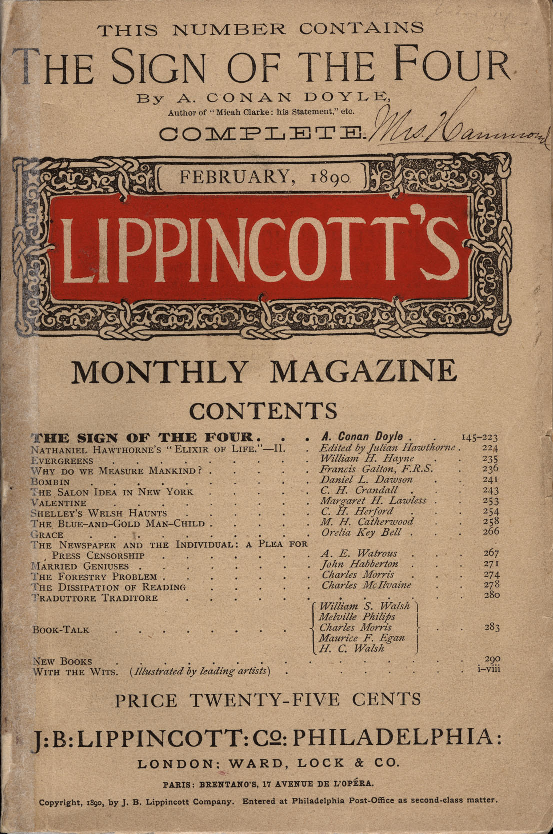 """'The Sign of the Four"""" in Lippincott's Monthly Magazine (1890) (Wikimedia Commons)"""