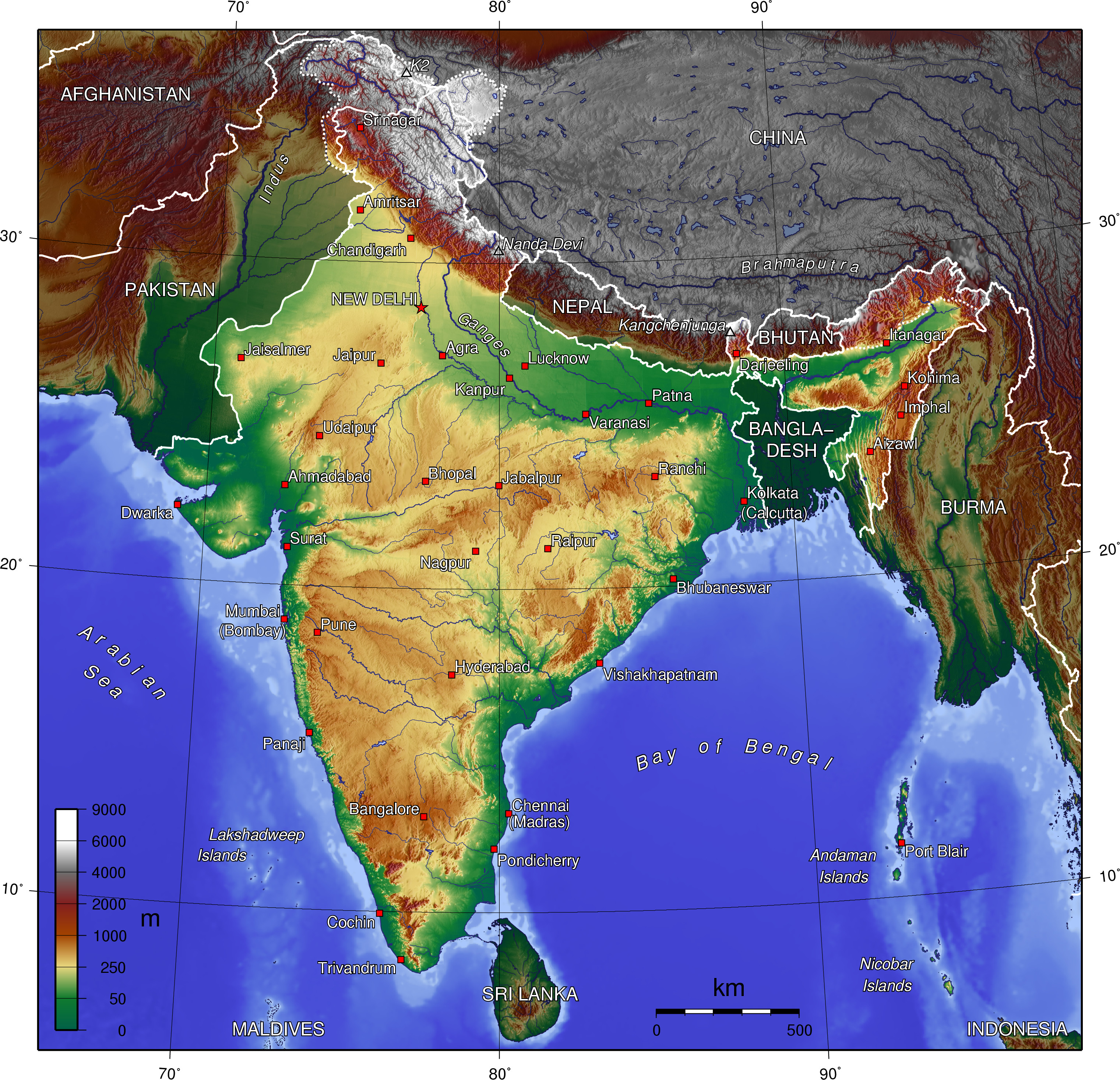 Wiki India Topography