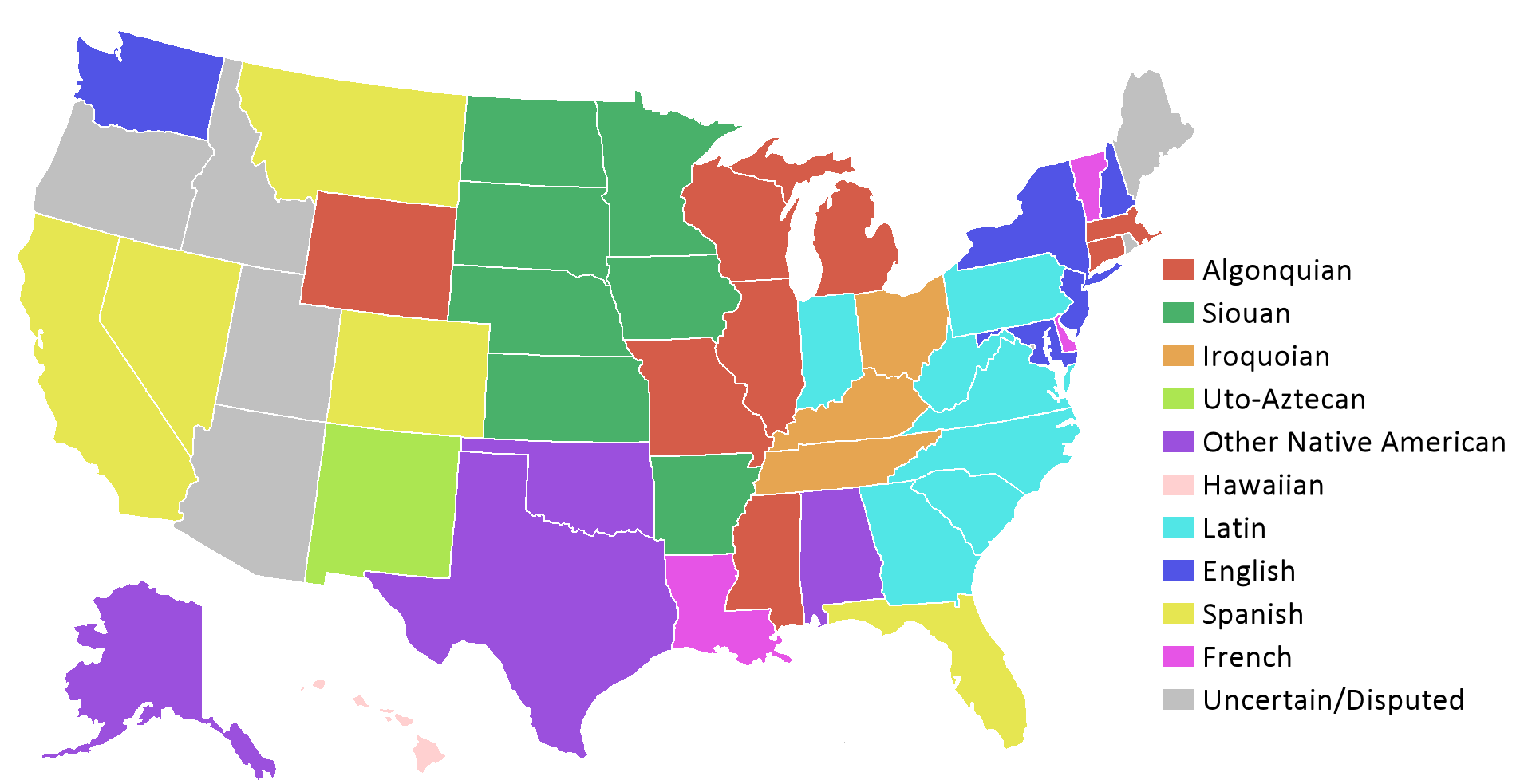 List Of State Name Etymologies Of The United States