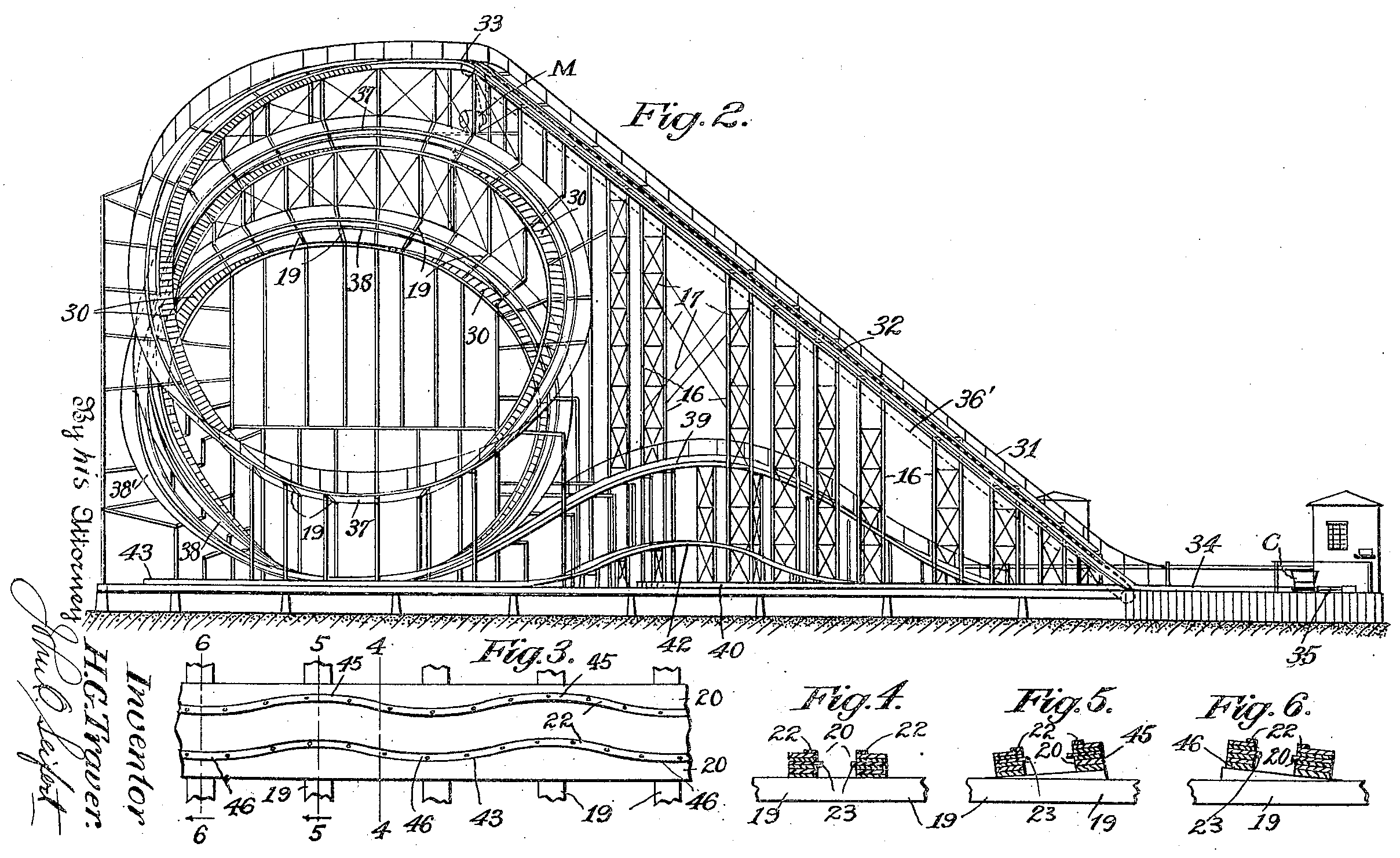 File Harry G Traver Cyclone Roller Coaster Patent