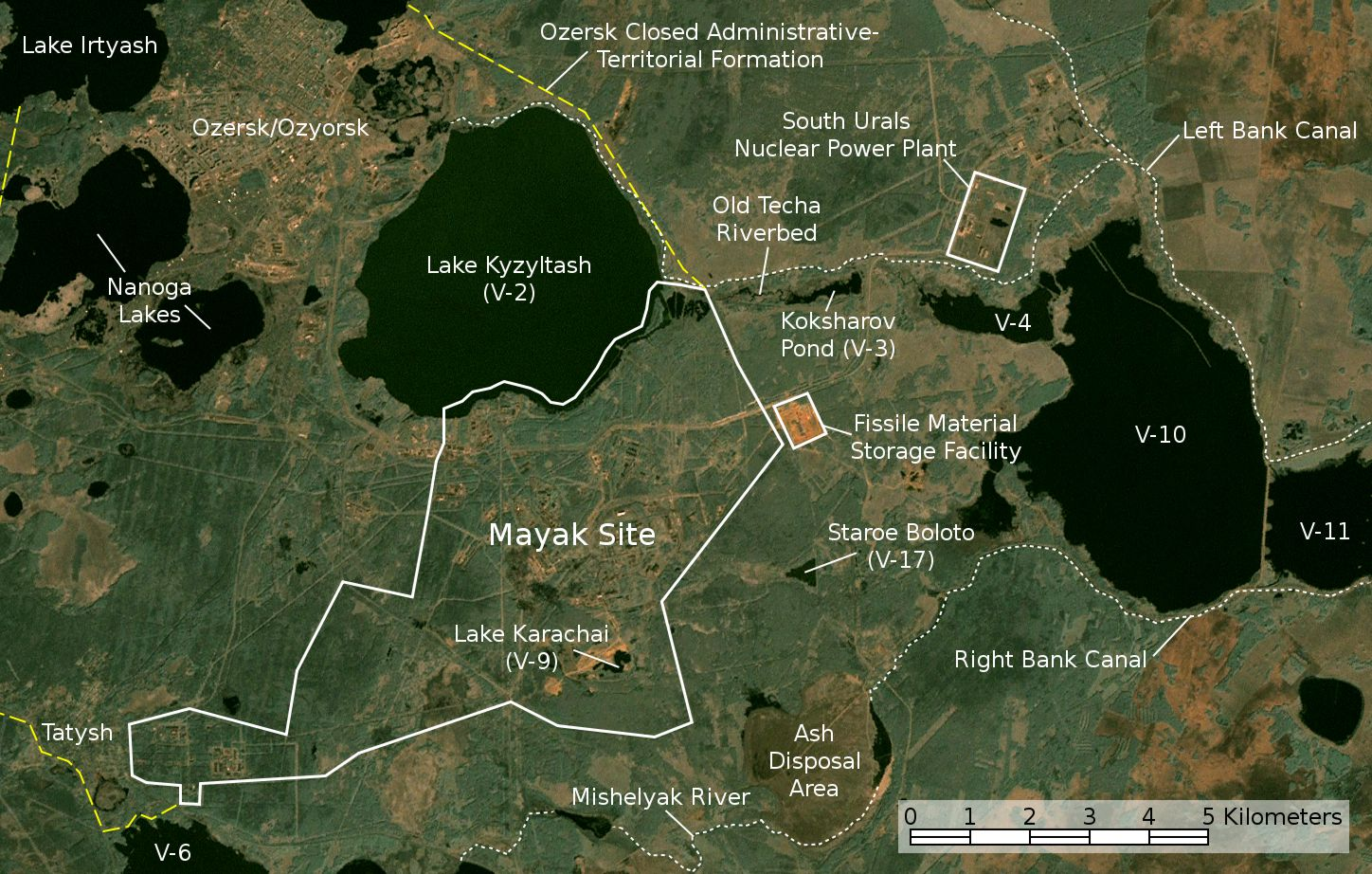 Mayak site and Kyshtym region