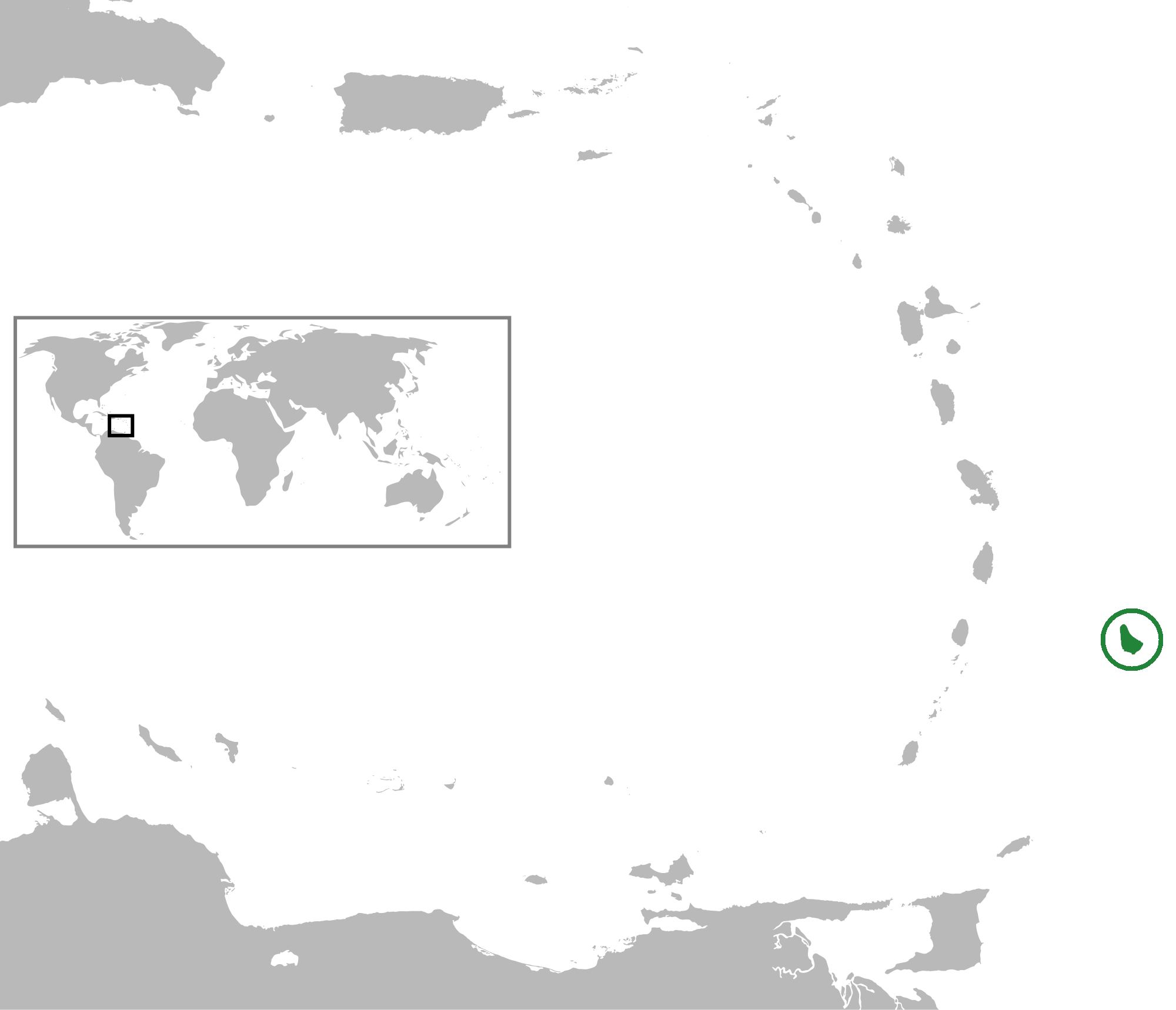 Position of Barbados in the Lesser Antillies
