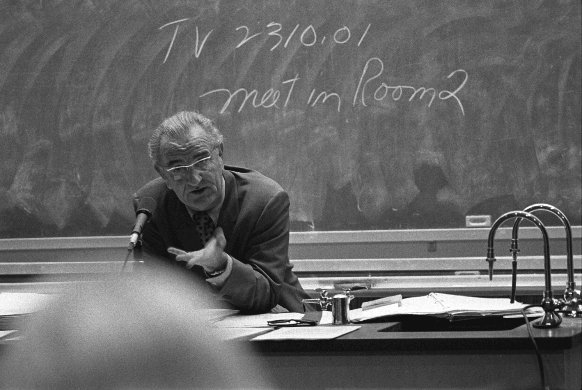 In 1970, Lyndon Johnson met with students (at the University of Texas)
