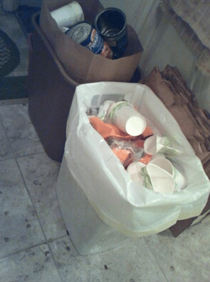 Trash can and recycle bin.
