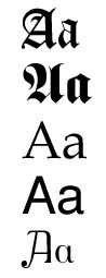 The letter A in different fonts
