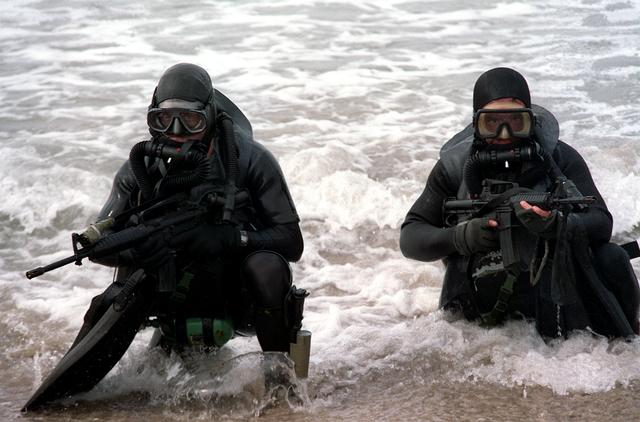 image of SEALs emerging from the ocean