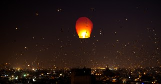 A night lit up on Makar Sankranti Uttarayana Festival with Kites and Lights India