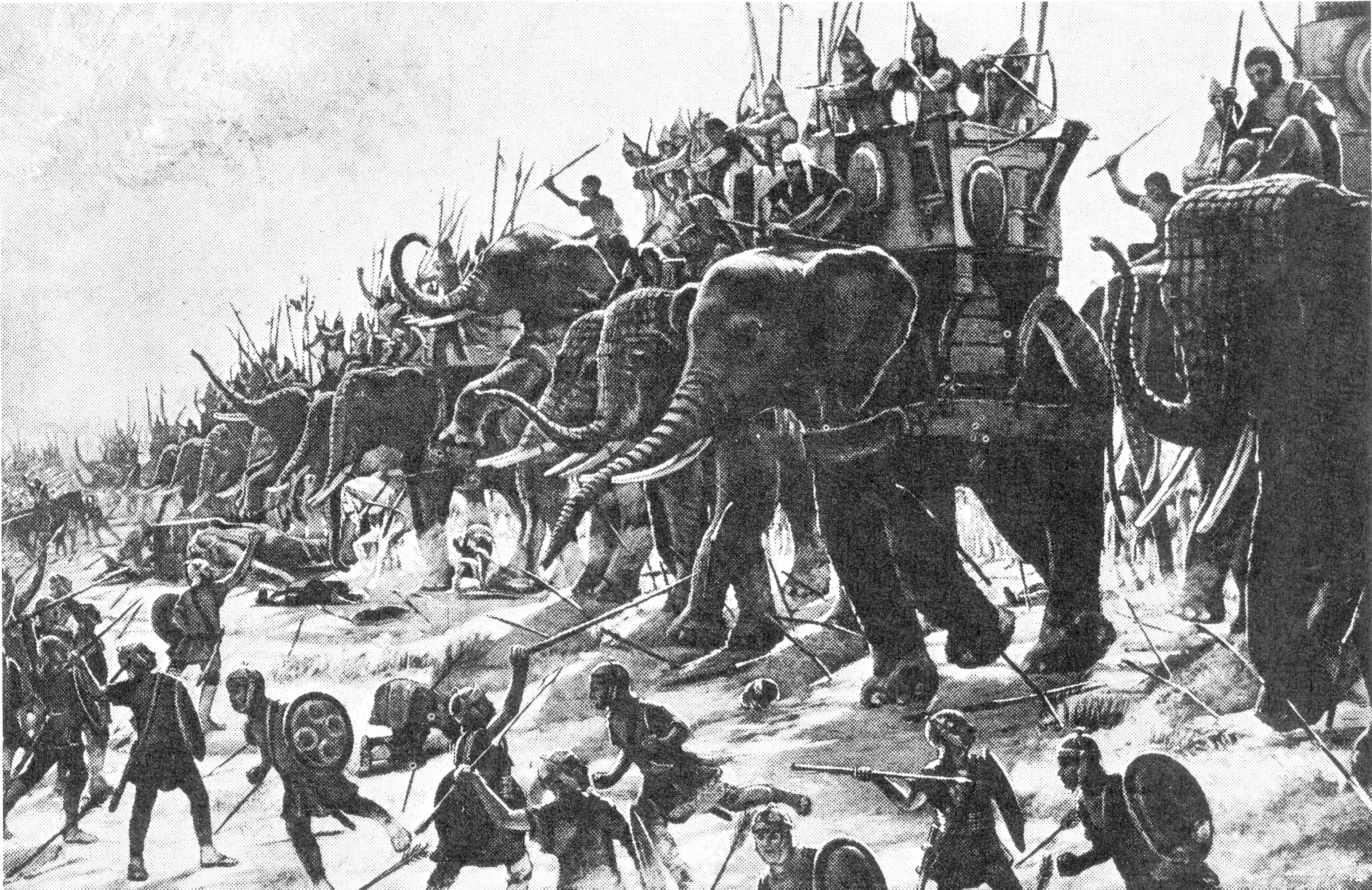Carthaginian war elephants engage Roman infantry at the Battle of Zama (202 BC).