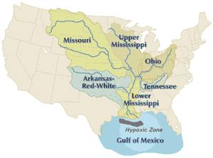 Map of the Mississippi River basin, showing su...