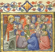 Saint Stephen preaching.