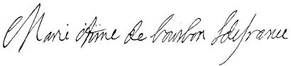 Undated signature of Marie Anne de Bourbon, Légitimée de France (1666-1739), Princess of Conti.jpg
