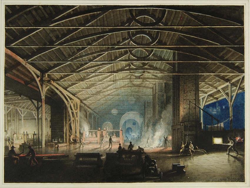 FileCyfarthfa Ironworks Interior At Night By Penry