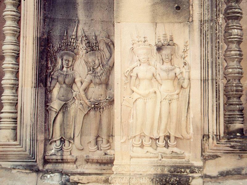 Apsaras' on a wall of the Angkor Wat (Angkor, ...