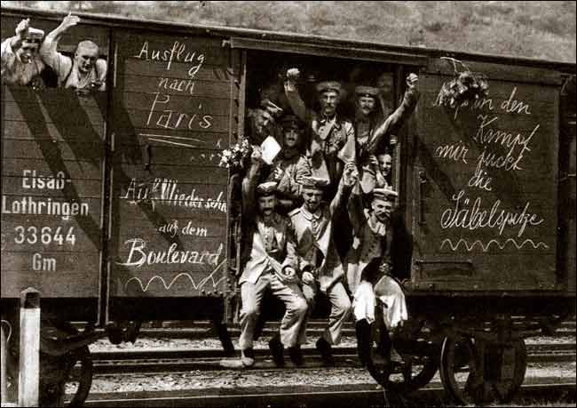 German soldiers in a railway goods wagon on the way to the front in 1914.