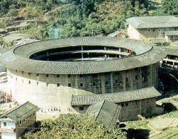 A walled village called a tulou in Fujian prov...