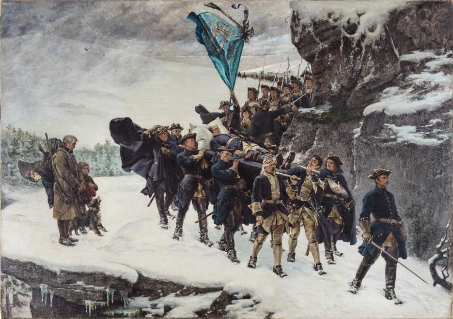 Målningen Karl XII:s likfärd av Gustaf Cederström (1845-1933) har alla uppgifter man förväntar sig hitta i en korrekt bildhänvisning