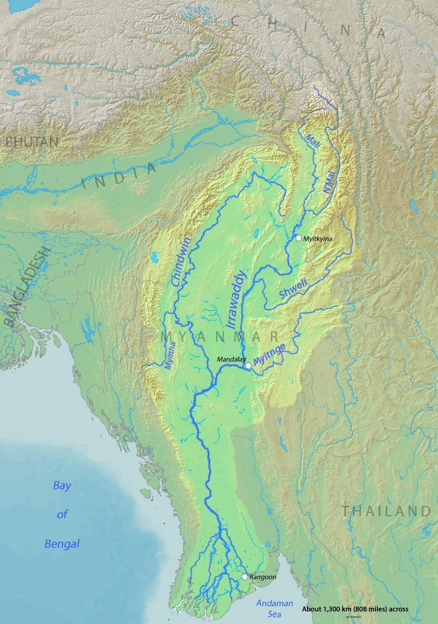 Map of the Irrawaddy River, which drains parts of Myanmar (Burma), Thailand and India into the Andaman Sea (Wikipedia)
