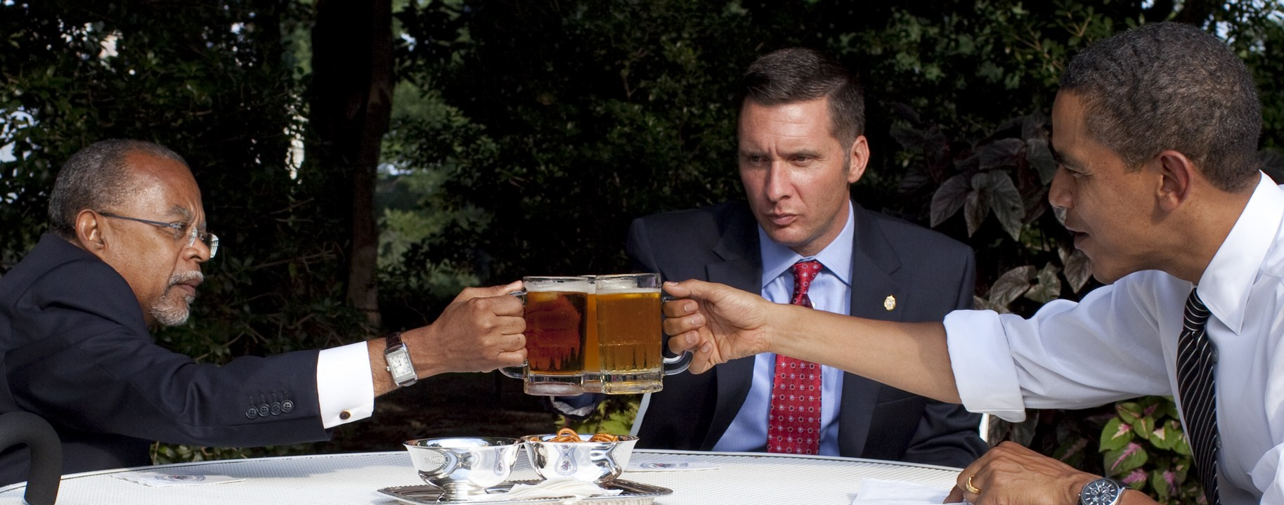Obama, Gates and Crowley drink to a false sense of improved race relations while the economy disintegrates and Obamas poll numbers plummet.