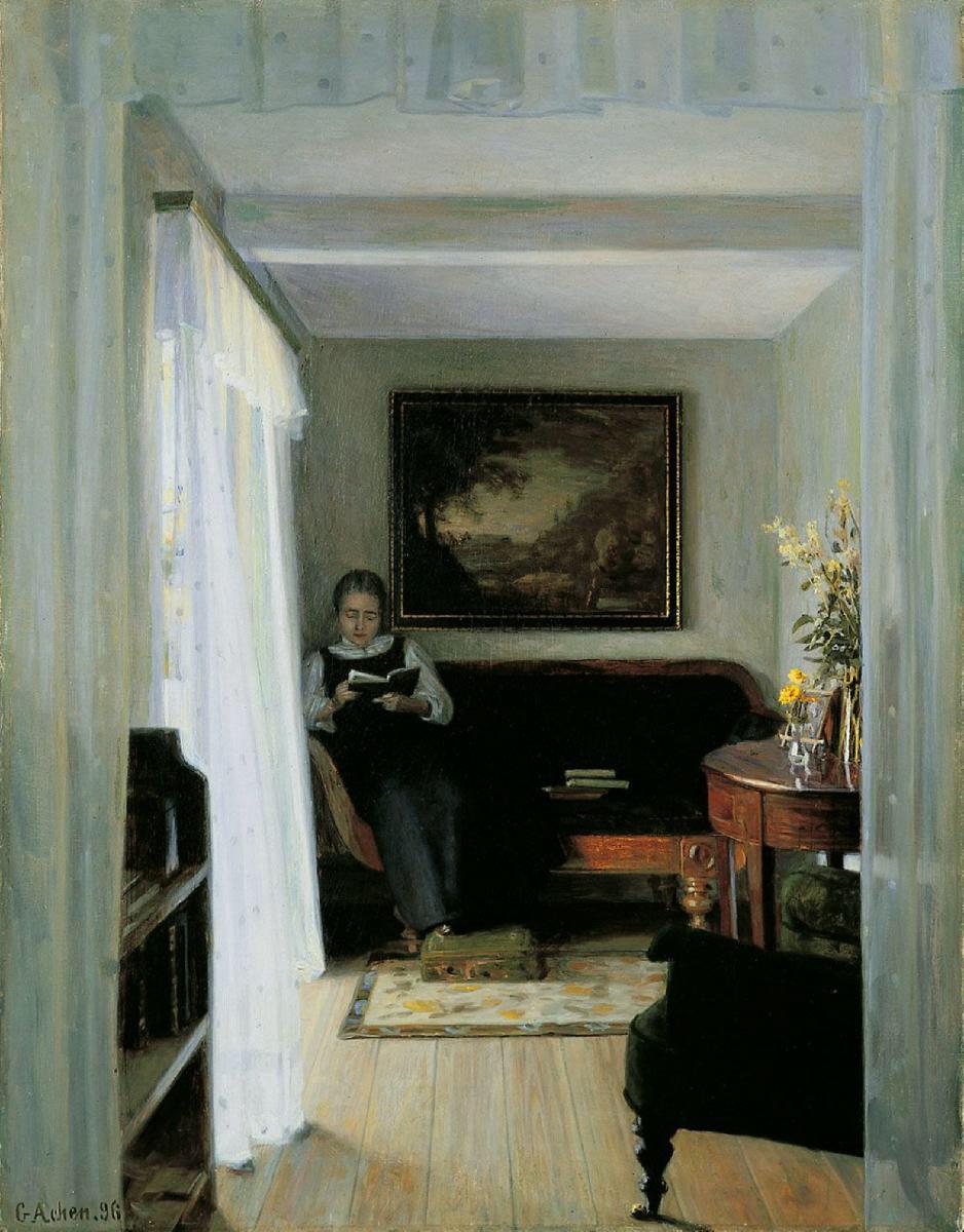 FileGeorg Achen Interior With Reading Woman 1896jpg