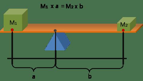 ให้ของที่ถ่วงสองข้างมีน้ำหนักหรือมวลต่างกันเป็น M1 และ M2 และระยะทางถึงจุดหมุนคือ a และ b ความสมดุลจะเกิดได้เมื่อ M1 x a = M2 x b ครับ