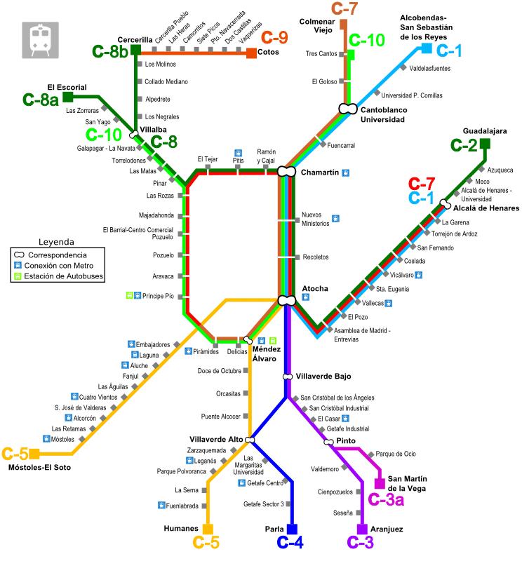 Map of Cercanías Madrid